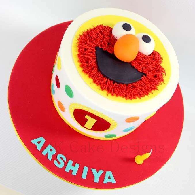 Single Tier Elmo 1st Birthday Cake