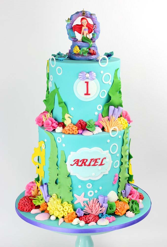 Two Tier Ariel Mermaid Cake Jk Cake Designs