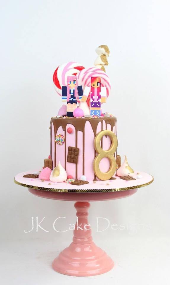 8th Birthday Pink Drip Chocolate Gamer Cake Jk Cake Designs