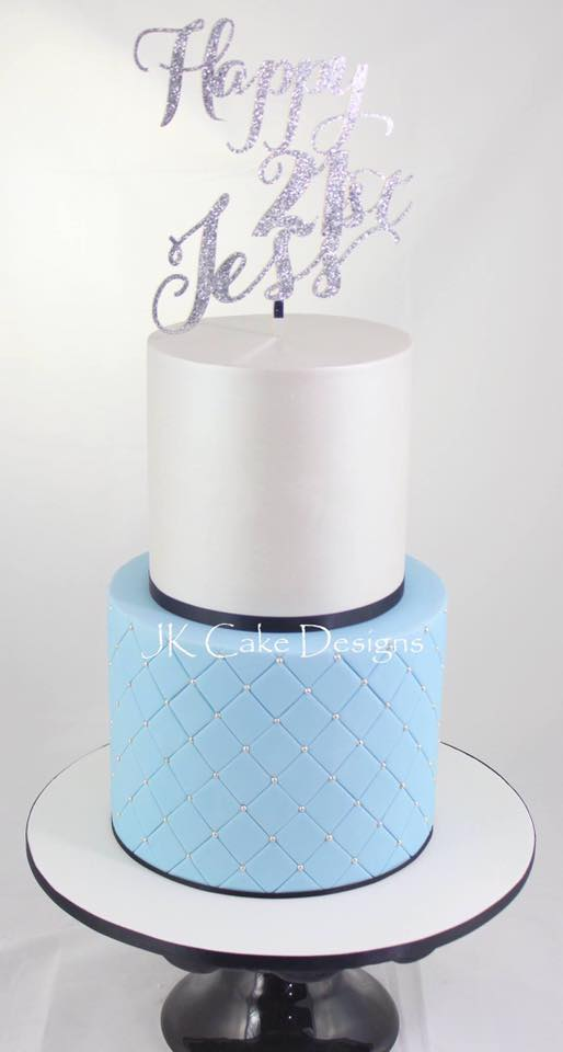 Quilted Blue White Lustre Jk Cake Designs