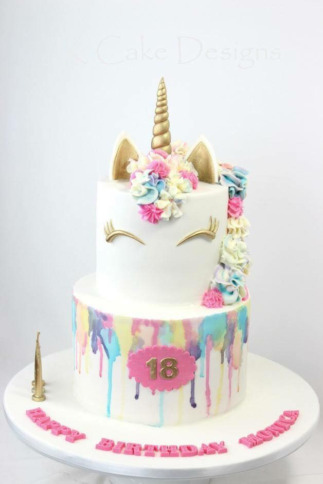 Two Tier Watercolour Unicorn Jk Cake Designs