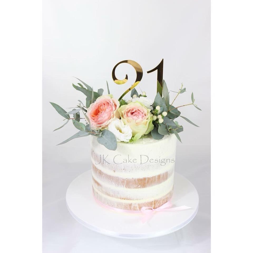 Fresh Flower Semi Naked 21st Cake Jk Cake Designs