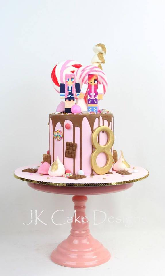 Superb 8Th Birthday Pink Drip Chocolate Gamer Cake Jk Cake Designs Funny Birthday Cards Online Inifodamsfinfo