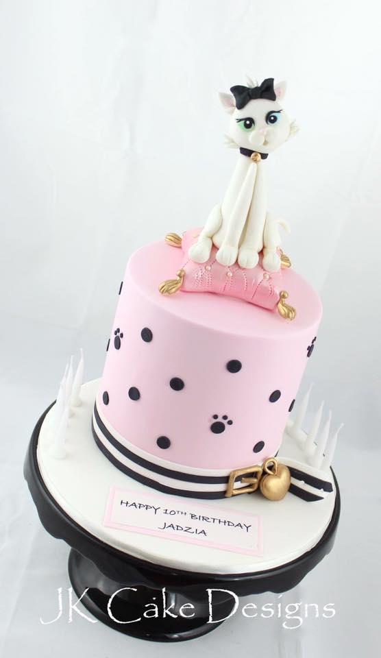 Sensational Pale Pink With Cat Figurine Jk Cake Designs Personalised Birthday Cards Veneteletsinfo