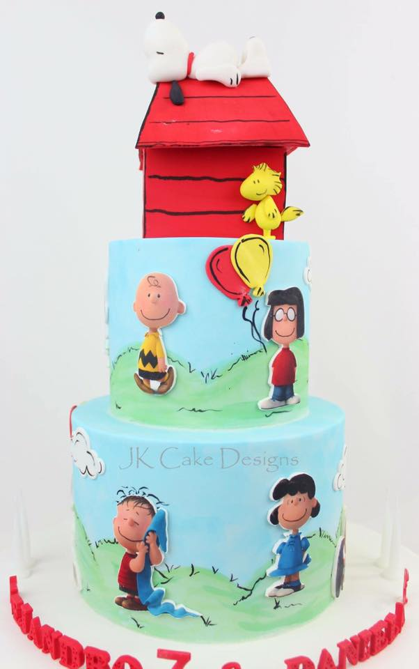 Terrific Two Tier Charlie Brown Woodstock Jk Cake Designs Personalised Birthday Cards Paralily Jamesorg