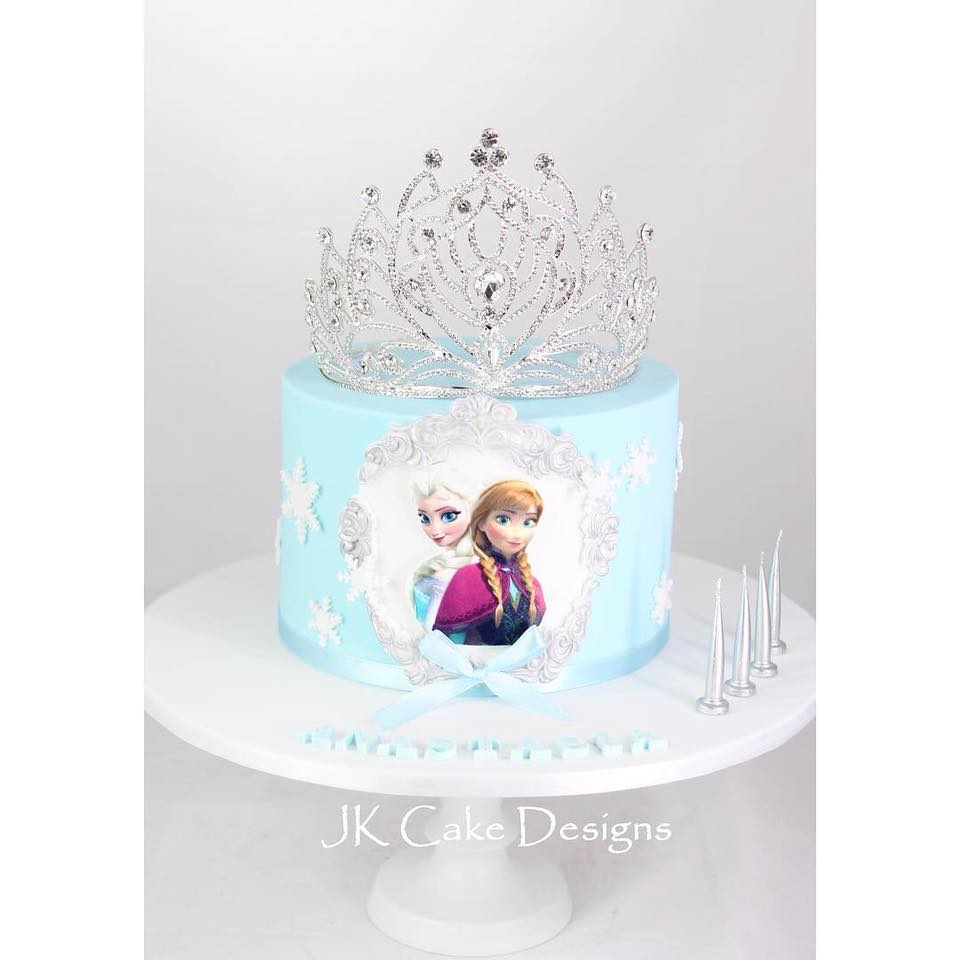 Cool Frozen Cake With Crown Jk Cake Designs Personalised Birthday Cards Epsylily Jamesorg