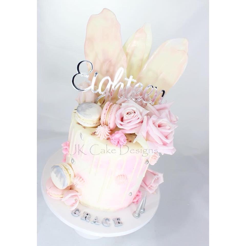 Peachy Pink Roses White Chocolate Shards 18Th Birthday Cake Jk Cake Personalised Birthday Cards Petedlily Jamesorg