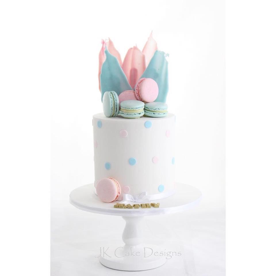 Polka Dot Macaron Pink Blue Cake Jk Cake Designs