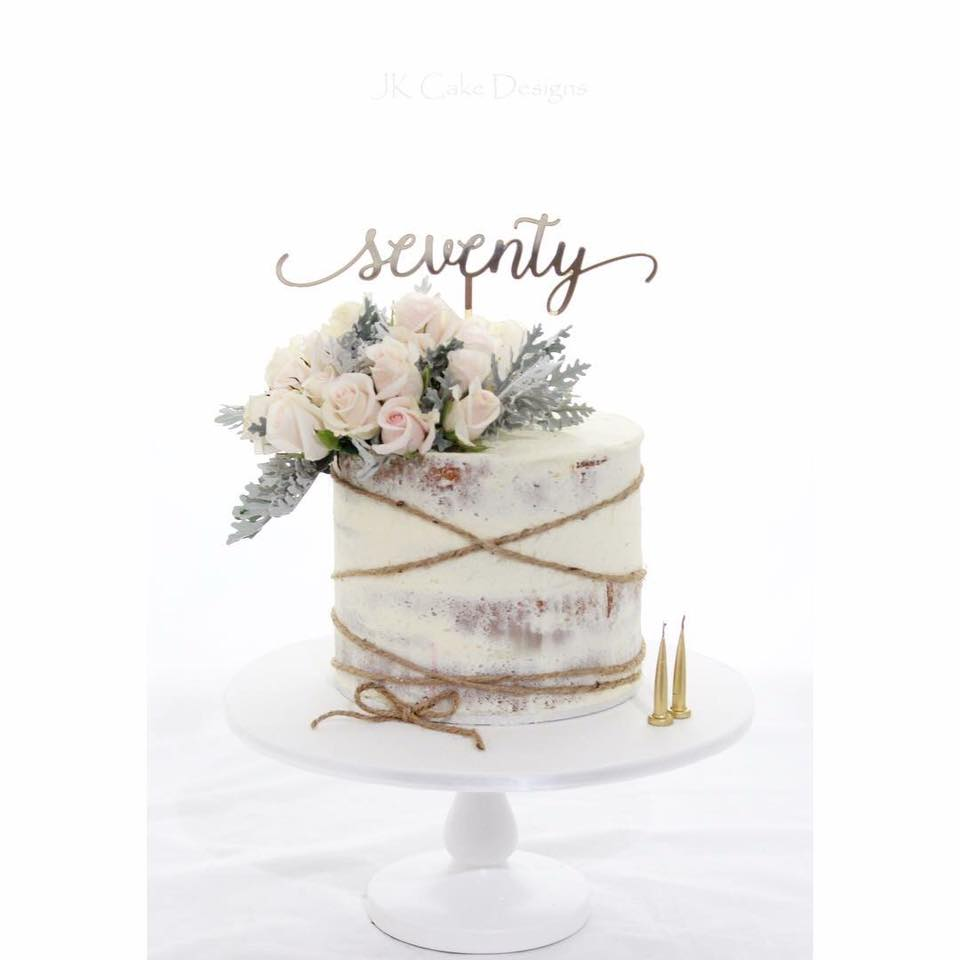 Pleasant 70Th Birthday Cake With Florals Twine Jk Cake Designs Funny Birthday Cards Online Fluifree Goldxyz