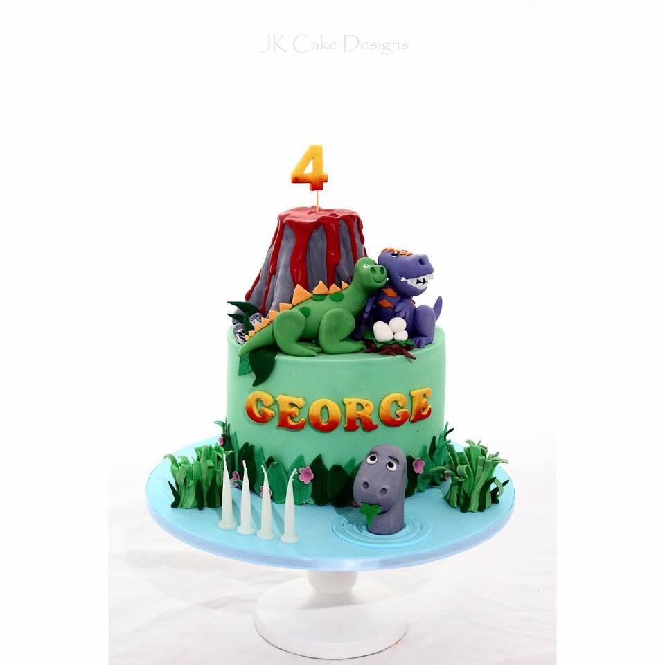 Enjoyable Dinosaur Volcano Cake Jk Cake Designs Personalised Birthday Cards Veneteletsinfo