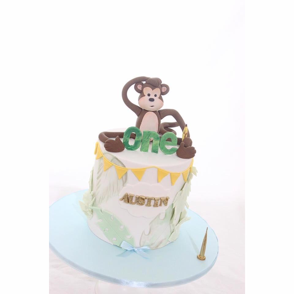 Surprising Monkey 1St Birthday Cake Jk Cake Designs Personalised Birthday Cards Petedlily Jamesorg