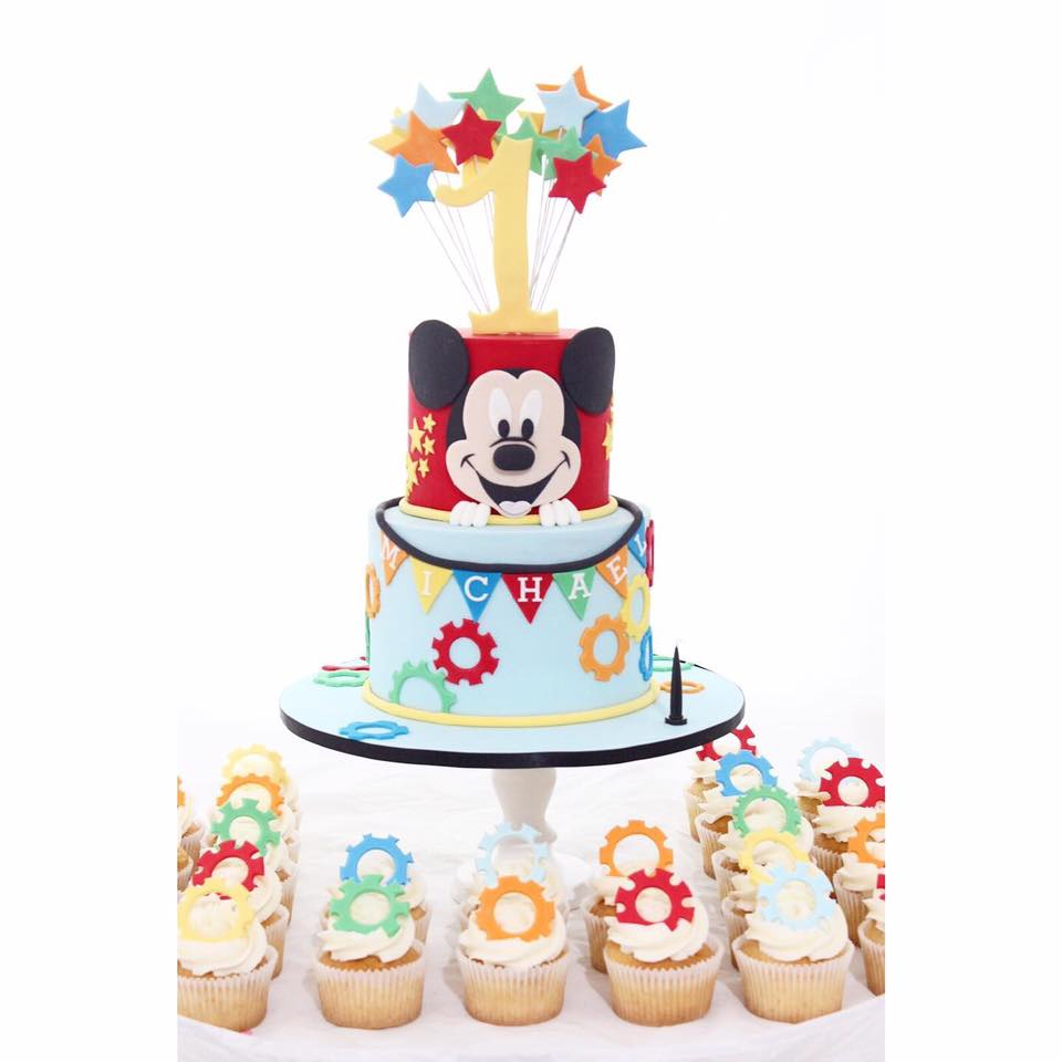 Superb Mickey Mouse Cake With Cup Cakes Funny Birthday Cards Online Inifofree Goldxyz